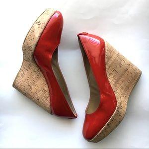 Staurt Weitzman corkswoon red patent wedge shoes